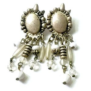 White Silver Statement Earrings Vintage